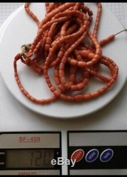 Antique undyed coral beads necklace 120 gr