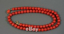 Art Deco Natural Undyed Red Ox Blood Coral Beads 7mm Necklace 18k Gold Clasp