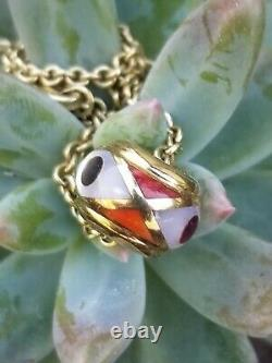 Asch Grossbardt 14k Gold Multi Gemstone Inlay Slide Pendant Necklace Bead Charm