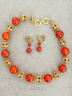 Auth Ysl Yves Saint Laurent Gold Tone Beaded Necklace Earrings Set Coral Vintage