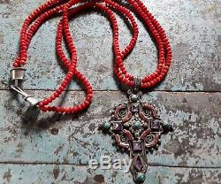 Authentic Vintage MATL Cross Necklace with Coral Beads