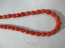 Awesome Vintage Organic Hand Carved Coral Barrel Authentic Necklace Beads