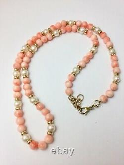 Beautiful Vintage 9ct Yellow Gold Natural Coral & Pearl Beaded Necklace 18.5