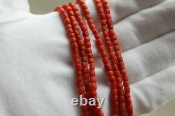 Beautiful original antique Coral Beads Natural Undyed Ukrainian Necklace 40 gr