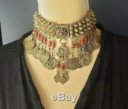 Bedouin Wedding Gilt Silver Coral Choker Necklace tribal jewelry