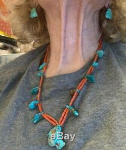 Best! Zuni att Leekya Deyuse Necklace Carved Turquoise Leaves Double Coral Beads