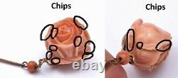 Chinese Coral Carved Carving Rose Pendant Bead 23 Necklace 14K Gold Clasp 60CM