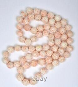 Chinese Natural Pink Angel Skin Coral Carved Carving 13mm Bead Necklace 150 Gram