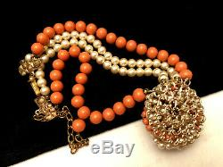 Classic Vintage 16x1-1/2 Signed Miriam Haskell Coral Lucite Bead Necklace A39