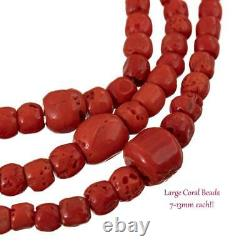 Coral Bead Necklace Navajo HANDMADE HEAVY 5-15mm Beads Vintage Old Pawn Wrap