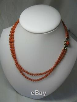 Coral Necklace Antique Victorian 14K Gold Graduated Beads c1880 Wedding Jewelry