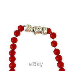 David Yurman Sterling 6mm Coral Spiritual Bead Necklace