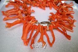 Designer Les Bernard Italian Salmon Orange Red Branch Coral Beaded Necklace 50 g