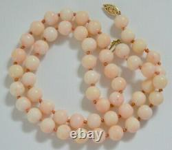 ESTATE VINTAGE ANGEL SKIN CORAL BEAD NECKLACE 14K GOLD CLASP HAND KNOTTED 7.9 mm