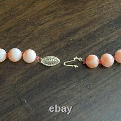 ESTATE VINTAGE PINK CORAL BEAD 14k GOLD 22 NECKLACE, 7.8mm Beads, 40 grams