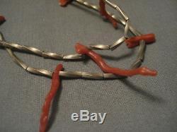 Early 1900's Vintage Navajo'twist Bead' Coral Silver Necklace Old