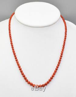 Estate 14K Yellow Gold Red Coral Beaded Strand Necklace 12.9 Grams 18.75 Inches