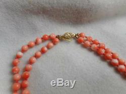 Estate 5mm Peachy Coral Bead Knotted 20 Double Strand & 14k Clasp Necklace
