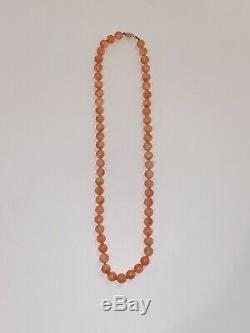 Estate Angel Skin Coral 8mm Beads 14k Clasp Necklace