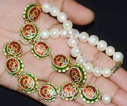 Estate Moghul 9 Planet Pearl Diamond Ruby 22K Gold Reversible Enamel Necklace