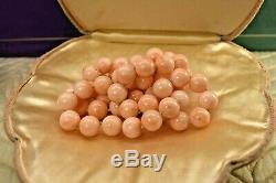 Estate vintage natural Angelskin coral 11.7 mm bead long necklace 26.5