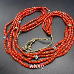 Exquisite OLD Vintage PUEBLO 5-Strand Coral GLASS TRADE BEADS Turquoise NECKLACE