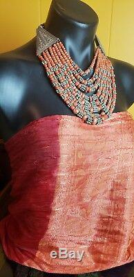 Exquisite rare, old, vintage necklace from Yemen, Silver and old Coral beads