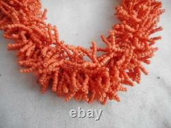 Fab vintage melon coral micro bead twisted dangle necklace with ball clasp