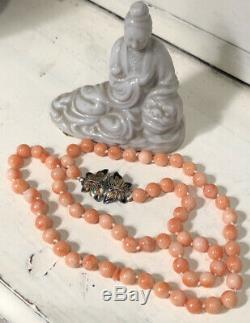 Fine Antique Angel Skin Coral Bead Necklace with Butterfly Clasp