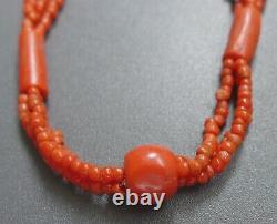 GORGEOUS, CHUNKY, ANTIQUE REAL CARVED CORAL BEAD MULTI STRAND NECKLACE 23g