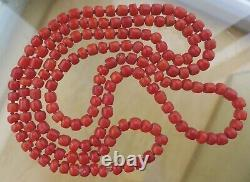 GORGEOUS, CHUNKY, LONG, ANTIQUE REAL CARVED CORAL BARREL BEAD NECKLACE 26g