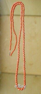 GORGEOUS, LONG, CHUNKY, ANTIQUE REAL CARVED SALMON CORAL BEAD NECKLACE 25g