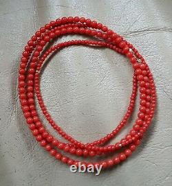 Genuine Japanese Aka Red Coral Necklace Double-strand + 18K Clasp