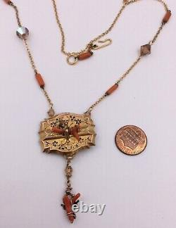 Gold Filled Victorian Glass Bead Enameled Coral Ornate Necklace 19.5