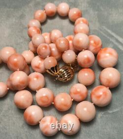 Gorgeous Vintage Angelskin Coral Necklace 75.37g with 8.5mm to 13.5mm Beads