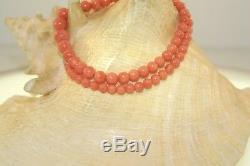 Graduated Genuine Natural Pink Coral Round Bead 14k Yellow Gold Necklace 18.5