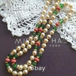 HASKELL Faux Pearls Green Côtelé & Coral Glass Beads Gold Gilt Brass Necklace
