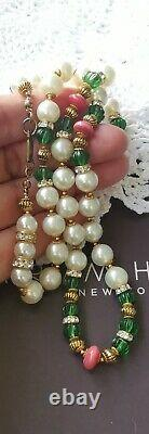 HASKELL Necklace 24 Faux Pearl Green Côtelé & Coral Glass Beads Gold Gilt Brass