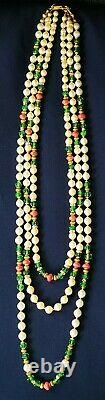 HASKELL Necklace 29 Faux Pearl Green Côtelé & Coral Glass Beads Gold Gilt Brass