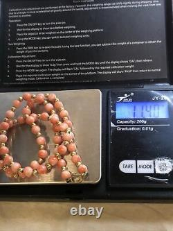Hallmarked 375, 9CT Gold Spacers Clasp Dyed Coral Beads 16 Necklace 11.4g