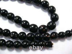 Hawaiian Black Coral Bead Necklace Vintage Retro 23 inch