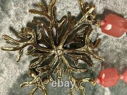 Heidi Daus Coral Color Beaded Necklace With Branch Coral Design Pendant