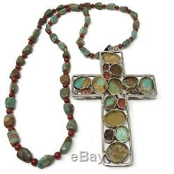 Huge Natural Royston Turquoise Coral Cross Necklace Sterling Silver 4 65g Bead