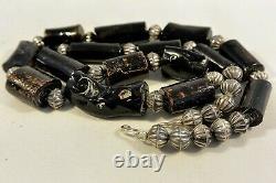 JOSEPH Joe H QUINTANA Cochiti NECKLACE withBLACK CORAL & Sterling Silver Beads