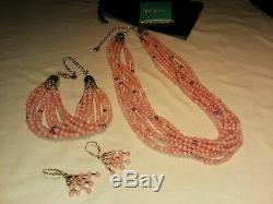 Jay King DTR 8 Strand Pink Angle Coral Beaded Necklace Bracelet & Earrings 925