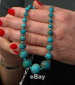 Jay King Seven Peaks Turquoise Bead 18 Sterling Silver Necklace NWT