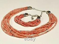 Jay King Sterling 925 8 Strands Angel Skin Coral Necklace Bracelet Set