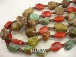 KEWA Santo Domingo 3-Strand Necklace Heishi Beads Turquoise Coral Treasure Heavy