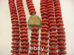 KEWA Santo Domingo 3-Strand Necklace Heishi Red Coral Beads Turquoise Long Heavy