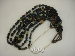 KEWA Santo Domingo 4-Strand Necklace Heishi Beads Jet Turquoise Coral Treasure